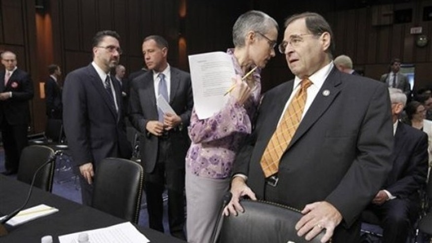 Rep. Jerrold Nadler, right, is shown before the start of a Senate Judiciary Committee hearing to discuss the repeal of the Defense of Marriage Act on Capitol Hill July 20.