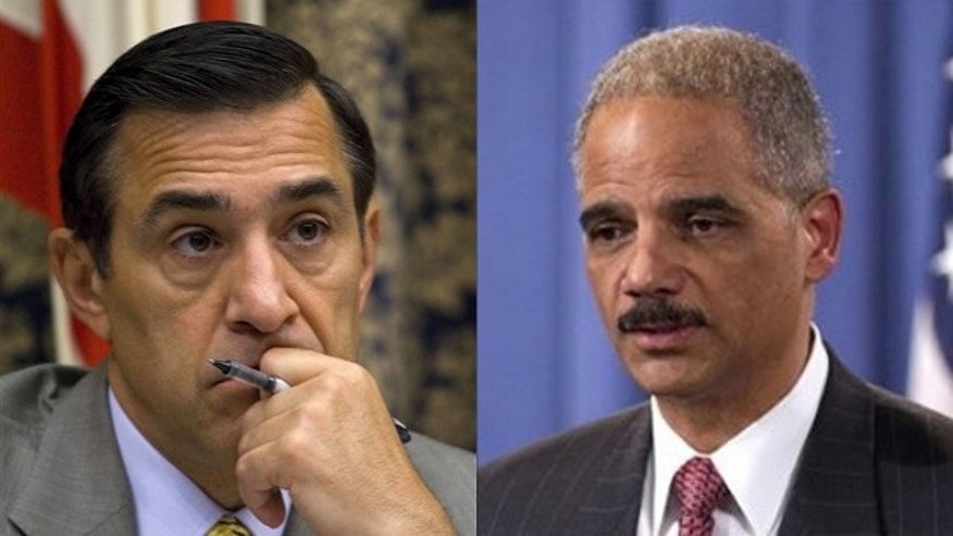 Rep. Darrell Issa, left, and Attorney General Eric Holder.