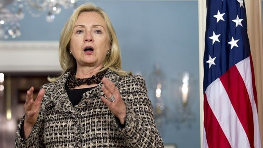 October 11: Secretary of State Hillary Rodham Clinton speaks as she meets with Montenegro Prime Minister Igor Luksic, not seen, at the State Department.