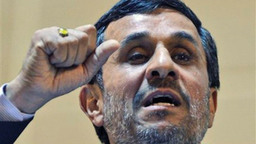 Iranian President Mahmoud Ahmadinejad gestures as he delivers a speech in Tehran, Iran, Oct. 2.