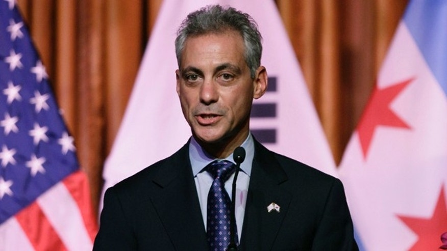 Oct. 14, 2011: Chicago Mayor Rahm Emanuel speaks as he hosts a welcome dinner in honor of South Korean President Lee Myung-bak at the Chicago Cultural Center in Chicago.