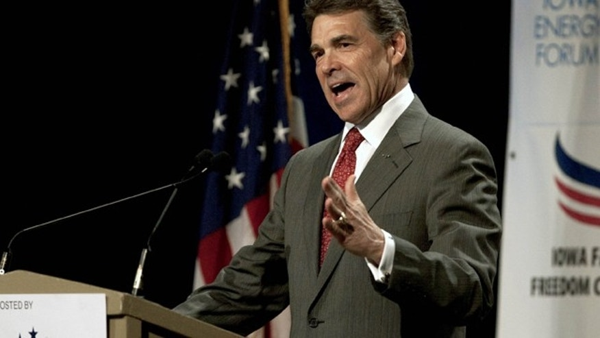Oct. 22, 2011: Texas Gov. Rick Perry speaks at the Iowa Faith and Freedom Coalition presidential candidate forum, in Des Moines, Iowa.