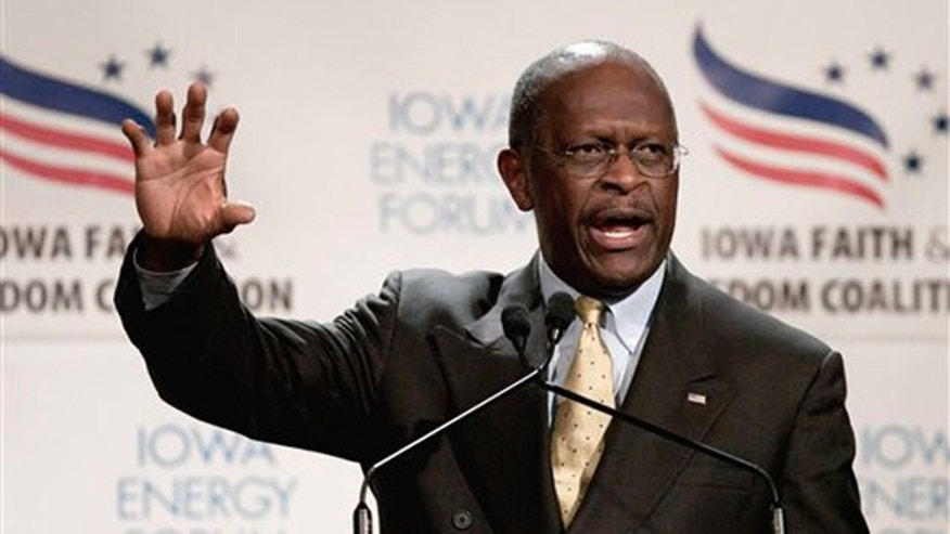 Oct. 22, 2011: Republican presidential candidate Herman Cain speaks in Des Moines, Iowa.