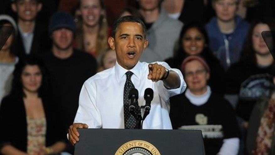 Oct. 26, 2011: President Obama makes a speech about managing student debt during an event at the University of Colorado Denver Downtown Campus in Denver.