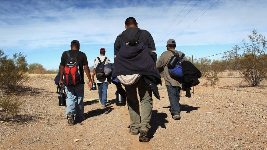 Undocumented Mexican immigrants walk through the Sonoran Desert after illegally crossing the U.S.-Mexico border border in early 2011 into the Arizona.