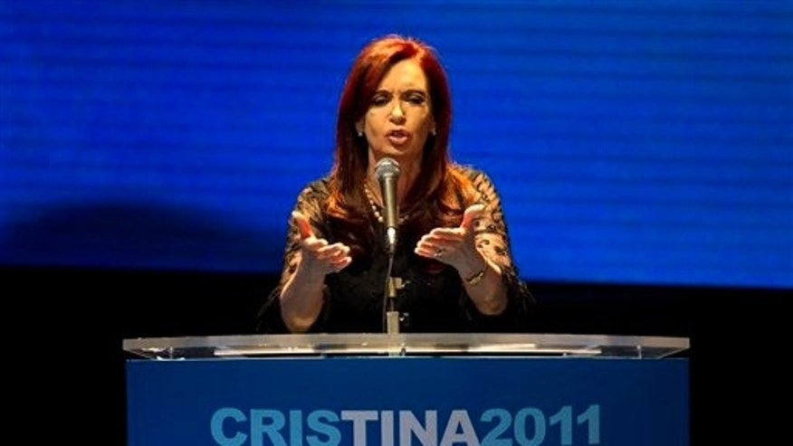 Argentina's President and candidate for re-election Cristina Fernandez speaks during an election rally in Buenos Aires, Argentina, Wednesday Aug. 10, 2011. Argentines will hold primary elections for the first time on Aug. 14 ahead of the presidential election scheduled for Oct. 23. (AP Photo/Victor R. Caivano)
