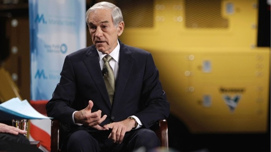 Nov. 1, 2011: Republican presidential candidate Rep. Ron Paul speaks during the Republican Presidential Forum on Manufacturing in Pella, Iowa.