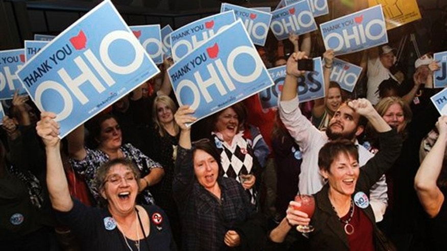 Nov. 8, 2011: Opponents of the Ohio union law cheer at a rally co-sponsored by the Cleveland Teachers Union and We Are Ohio in Cleveland.