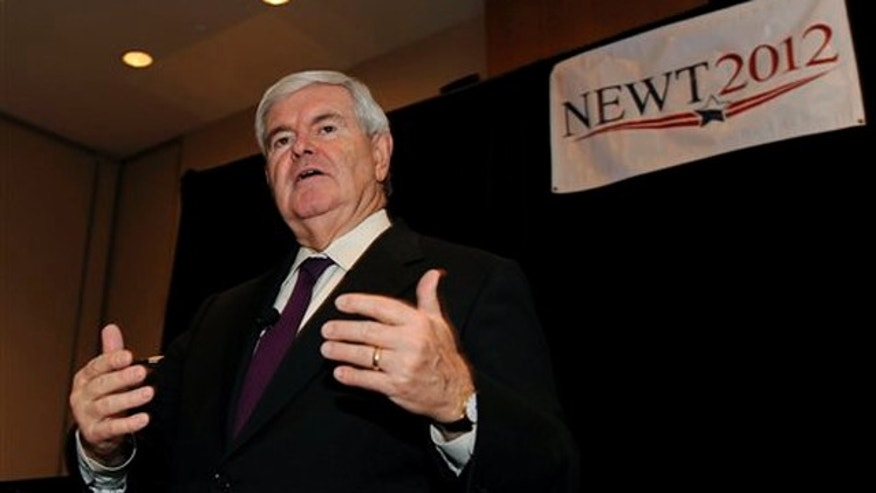 Nov. 10, 2011: Former House Speaker Newt Gingrich addresses audience members while campaigning at the Westin Hotel at Detroit Metro Airport in Romulus, Mich.