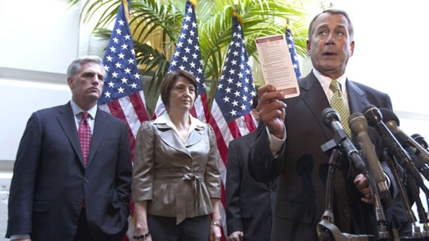 November 15, 2011: House Speaker John Boehner of Ohio, right, accompanied by, from left, House Majority Whip Kevin McCarthy of Calif. and Rep. Cathy McMorris Rodgers, R-Wash., speaks during a news conference on Capitol Hill in Washington.