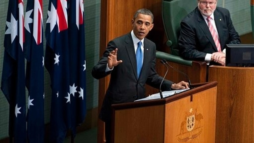 Nov. 17, 2011: President Obama addresses the Australian Parliament in Canberra, Australia.