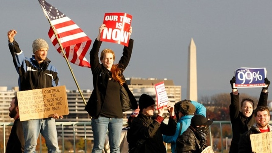 Nov. 17, 2011: Demonstrators stand on the Key Bridge in Washington, D.C.
