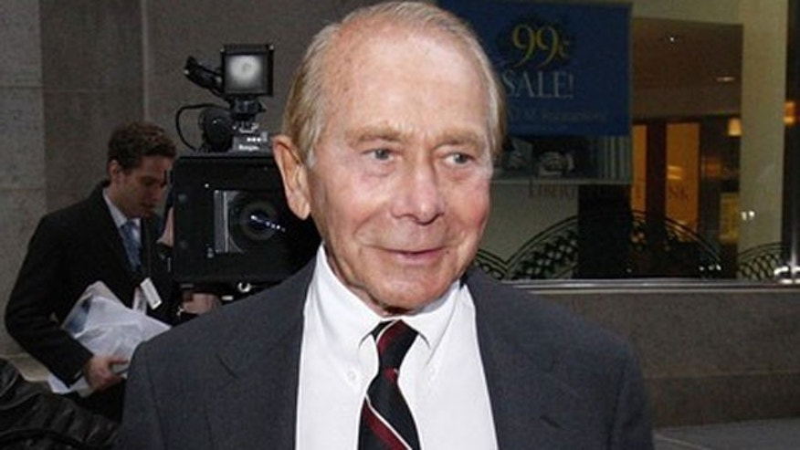 "March 10, 2010 file photo: Former CEO of American International Group Inc., Maurice ""Hank"" Greenberg, leaves a building in Downtown New York after being deposed by the Attorney General's office."