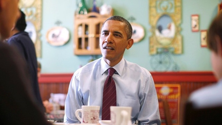 Nov. 22, 2011: President Obama visits a restaurant in Manchester, N.H.