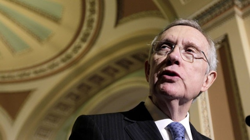 November 8, 2011: Senate Majority Leader Harry Reid of Nev. gestures during a news conference on Capitol Hill in Washington.
