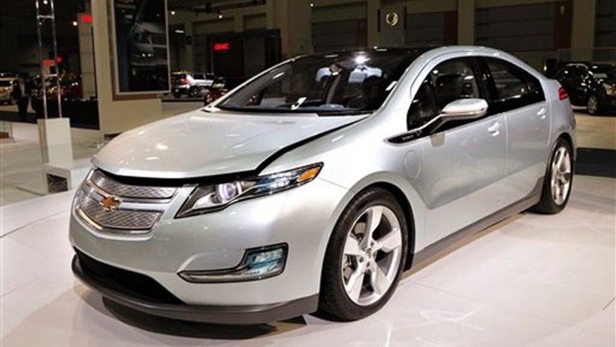 In this Jan. 26, 2010 file photo, the Chevy Volt appears on display at the Washington Auto Show, in Washington.