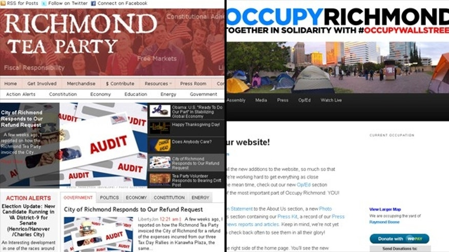 Richmond Tea Partiers are claiming a double standard between their group and their group and Occupy Richmond, seen in screengrabs of their websites.