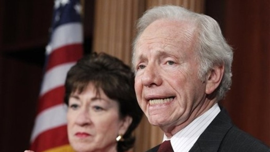 Senate Homeland Security and Governmental Affairs Committee Chairman Sen. Joseph Lieberman, I-Conn. , right, accompanied by the committee's ranking Republican Sen. Susan Collins, R-Maine, speaks during a news conference on the release of GAO report on northern border security, Tuesday, Feb. 1, 2011, on Capitol Hill in Washington. (AP)