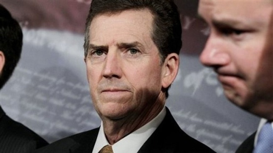 June 29, 2011: Sen. Jim DeMint speaks to the media on Capitol Hill.