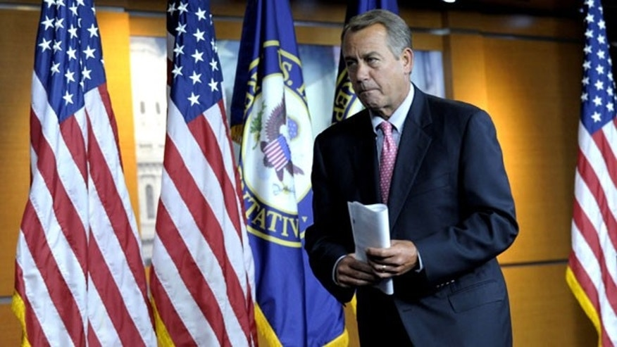 December 1, 2011: House Speaker John Boehner of Ohio leaves his news conference on Capitol Hill in Washington.