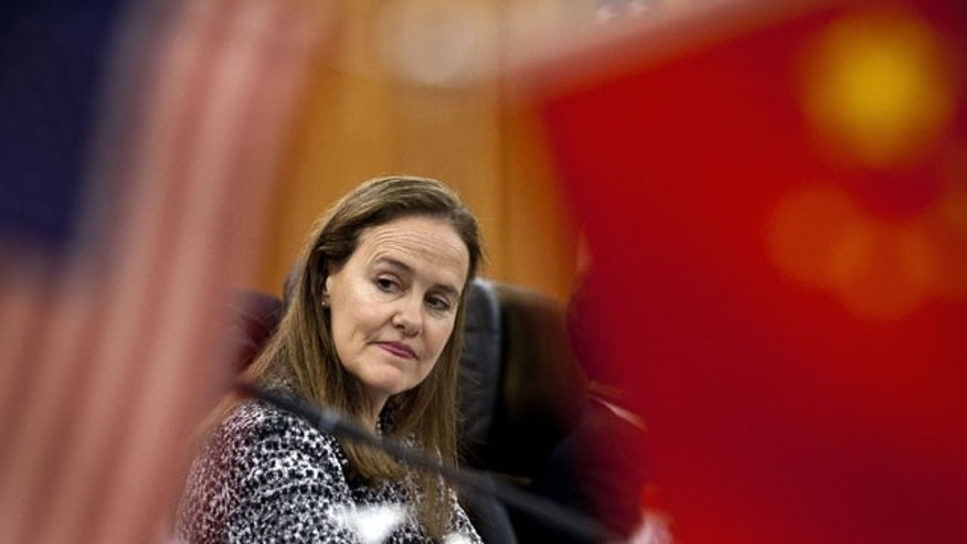 December 7, 2011: U.S. Defense Undersecretary Michele Flournoy, prepares for a bilateral meeting with Gen. Ma Xiaotian, the People's Liberation Army's deputy chief of staff, at the Bayi Building in Beijing, China.