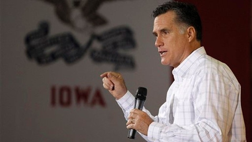 Dec. 16, 2011: Mitt Romney speaks during a rally at Missouri Valley Steel in Sioux City, Iowa.