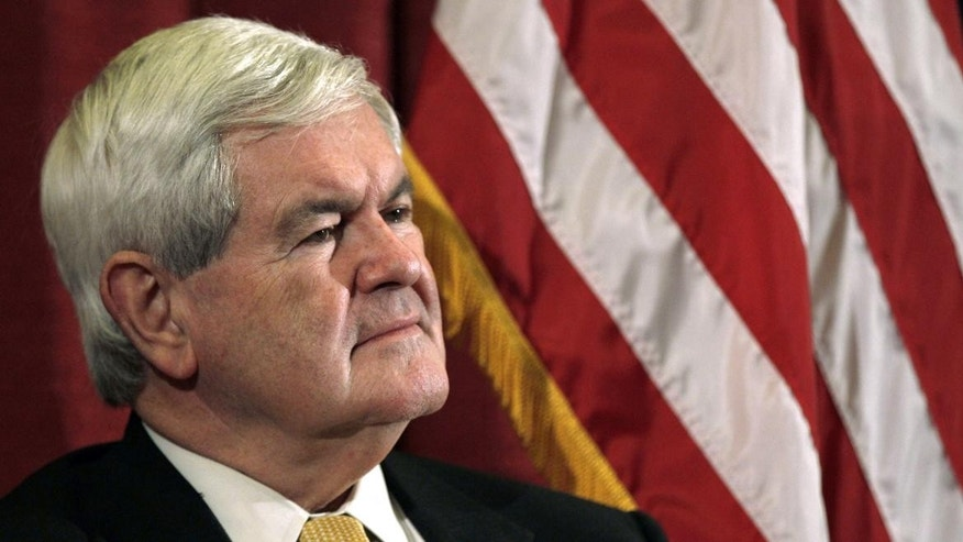 Newt Gingrich appears in Manchester, NH Wednesday. (AP Photo)
