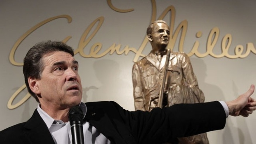 December 27, 2011: Republican presidential candidate, Texas Gov. Rick Perry speaks during a campaign stop at the Glenn Miller Museum in Clarinda, Iowa.