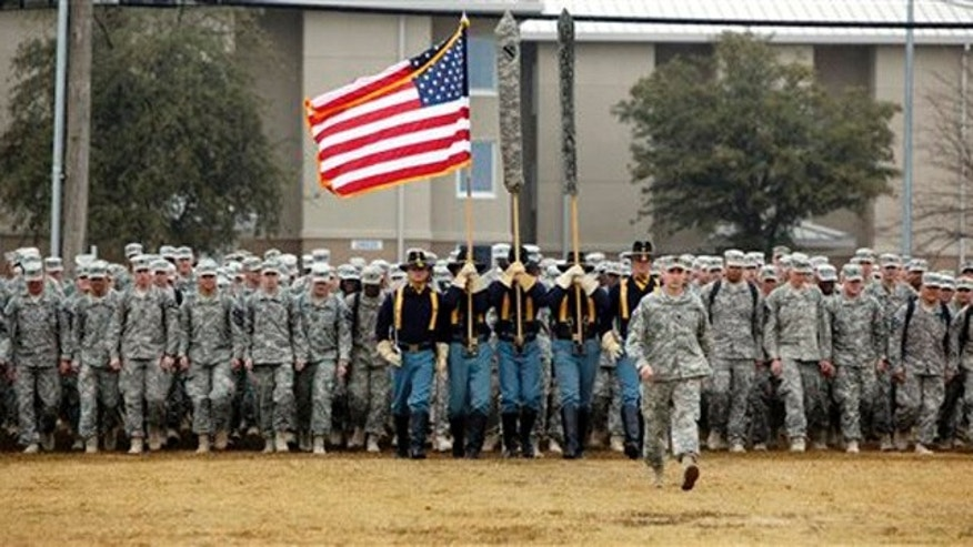 Dec. 24, 2011: U.S. Army 1st Cavalry 3rd Brigade soldiers march onto the parade grounds upon their return home from deployment in Iraq, at Fort Hood, Texas.