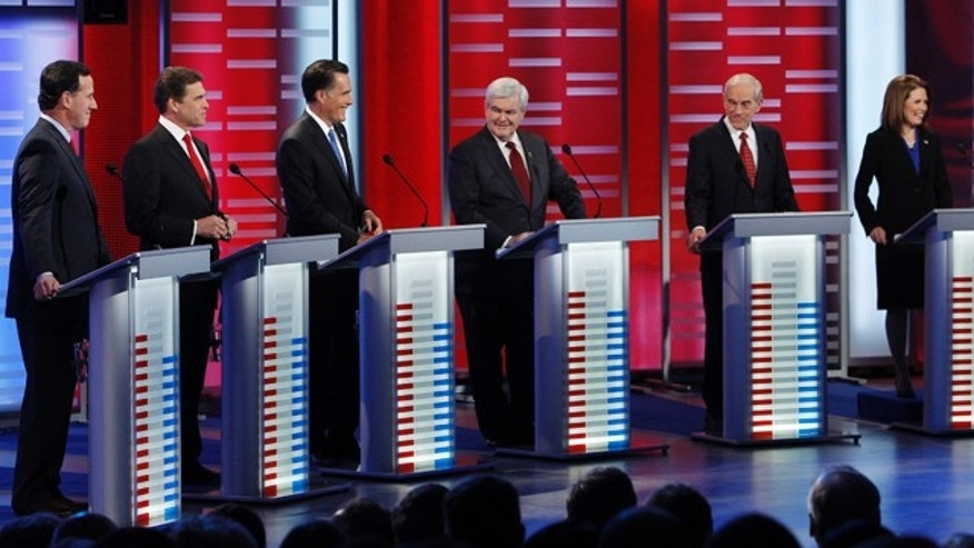 Dec. 10: Republican presidential candidates take their place for a debate.