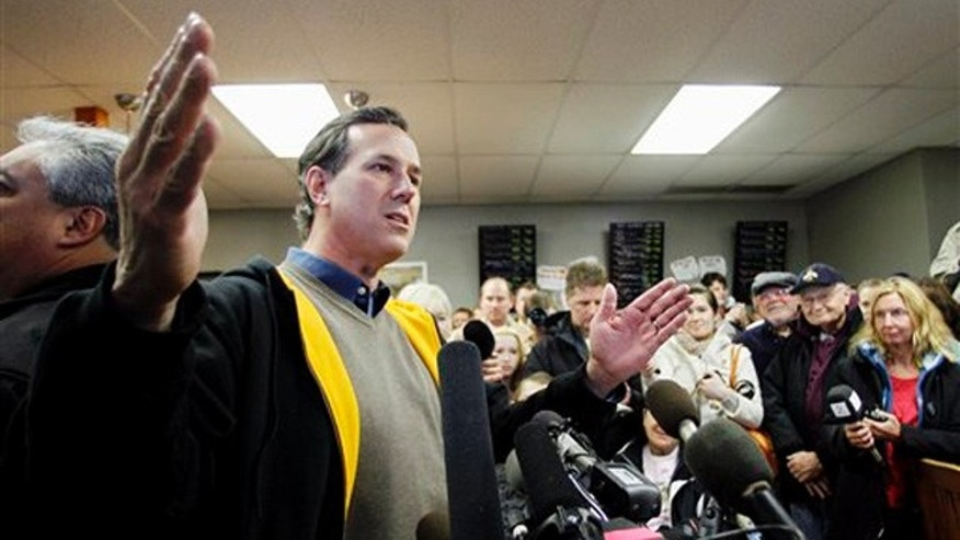 Jan. 2, 2012: Rick Santorum speaks during a campaign stop at the Rising Sun Cafe in Polk City, Iowa.