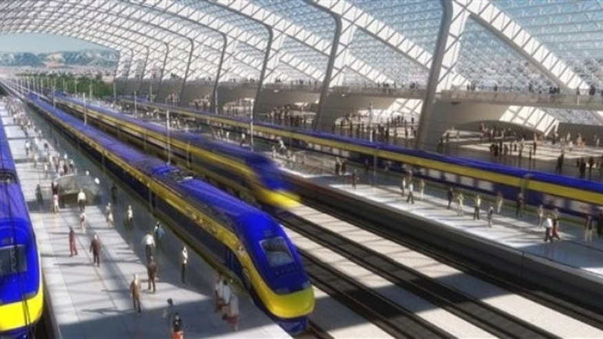 This image provided by the California High-Speed Rail Authority shows an artist's conception of a high-speed rail station in California.
