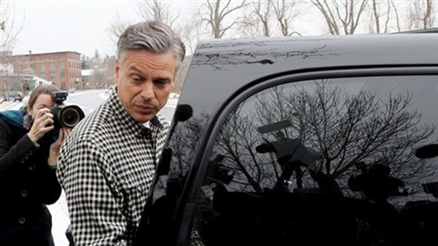 Jan. 6, 2012: Jon Huntsman leaves a campaign stop in Concord, N.H.