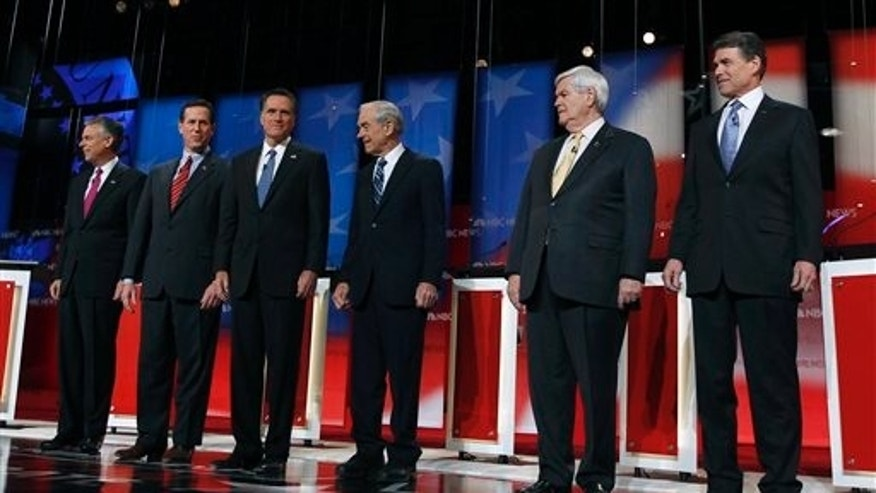 jan. 8, 2012: Jon Huntsman, Rick Santorum, Mitt Romney, Ron Paul, Newt Gingrich and Rick Perry are introduced at a Republican prsidential candidate debate in Concord, N.H.