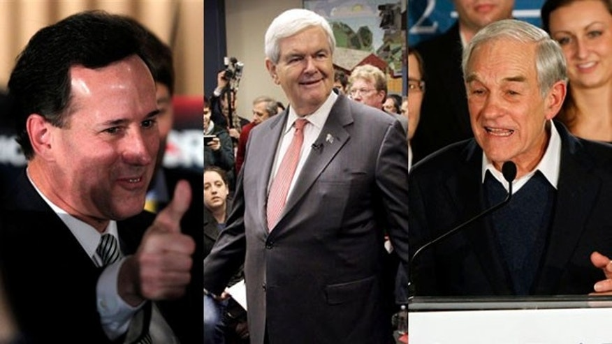 Shown here are Rick Santorum, left, Newt Gingrich, center, and Ron Paul.
