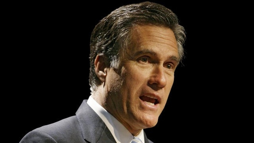 Former Massachusetts Gov. Mitt Romney addresses the Maine Republican state convention Friday May 2, 2008 at the Augusta Civic Center in Augusta, Maine. (AP Photo/Joel Page)