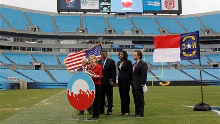 Jan. 17, 2012: Democratic National Committee Chairwoman Debbie Wasserman Schultz speaks during a news conference at Bank of America stadium in Charlotte, N.C.