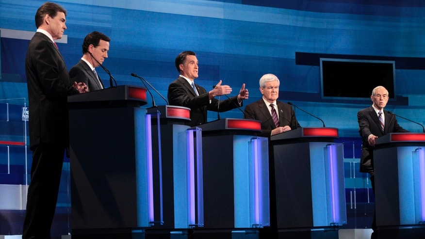 Republican presidential candidates, from left to right: Texas Gov. Rick Perry; former Pennsylvania Sen. Rick Santorum; former Massachusetts Gov. Mitt Romney; former House Speaker Newt Gingrich; and Rep. Ron Paul, R-Texas, participate in the South Carolina Republican presidential candidate debate in Myrtle Beach, S.C., Monday, Jan. 16, 2012. (AP Photo/Charles Dharapak, Pool)