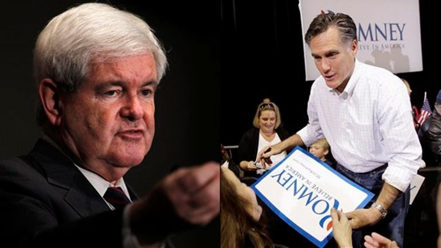 Jan. 20, 2012: Shown here are Newt Gingrich, left, and Mitt Romney in South Carolina.