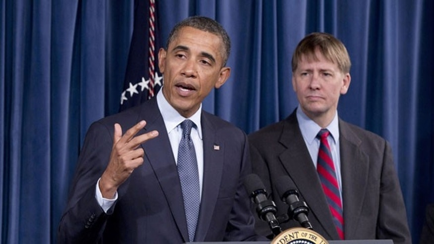 Jan. 6, 2012: President Barack Obama visits the new director of the Consumer Financial Protection Bureau, Richard Cordray, at the CFPB's offices in Washington. Obama riled congressional Republicans by using a recess appointment, a rarely invoked legal tactic, to appoint the former Cordray, Ohio attorney general, to run the watchdog agency.