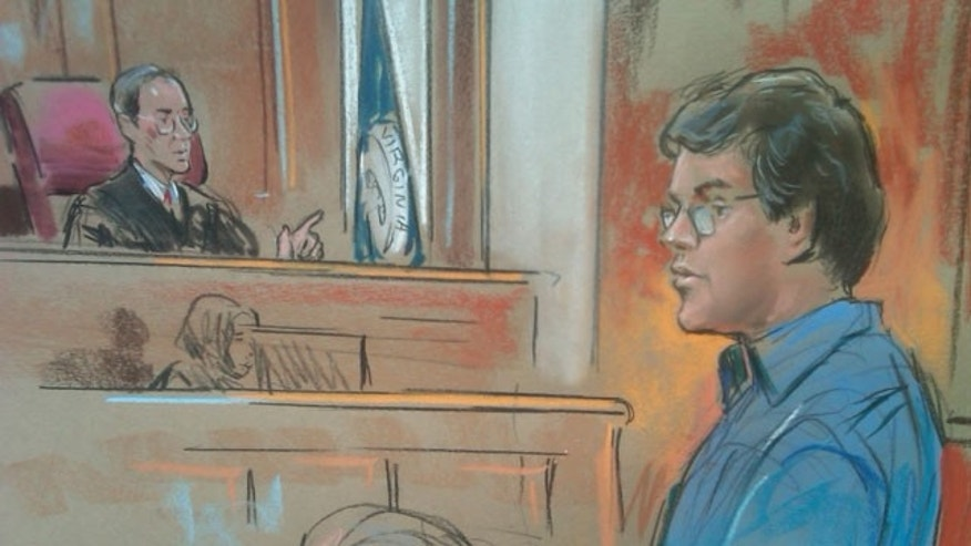 January 23, 2012: Courtroom sketch of John Kiriakou who is charged with leaking classified secrets about CIA operatives and other information to reporters.