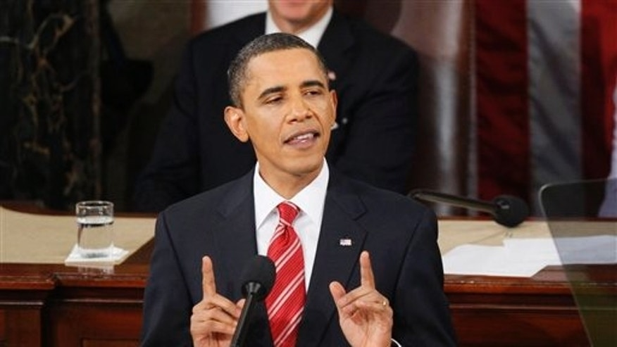 Jan. 27, 2011: President Obama gestures while delivering his State of the Union address on Captitol Hill.