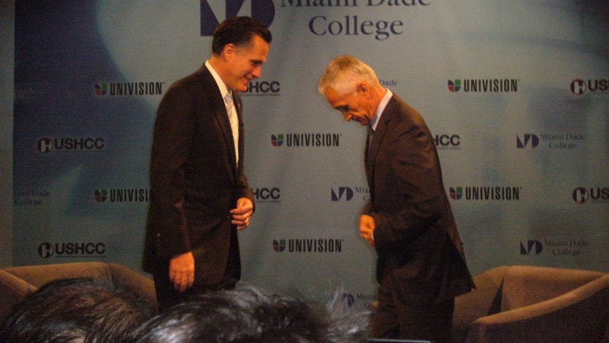 GOP presidential candidate Mitt Romney at a forum in Florida on Jan. 25 where he was interviewed by Univision anchor Jorge Ramos.