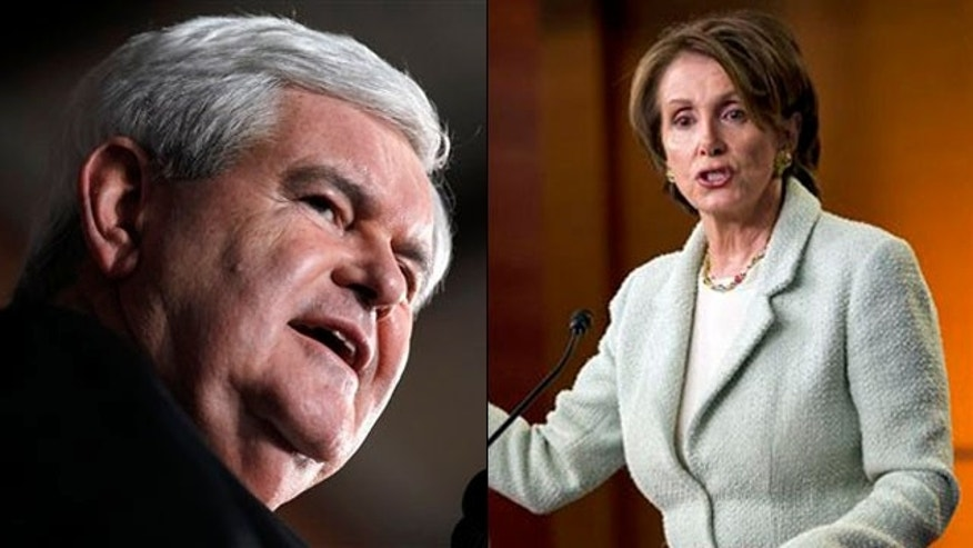 Shown here are Newt Gingrich, left, and House Democratic Leader Nancy Pelosi.