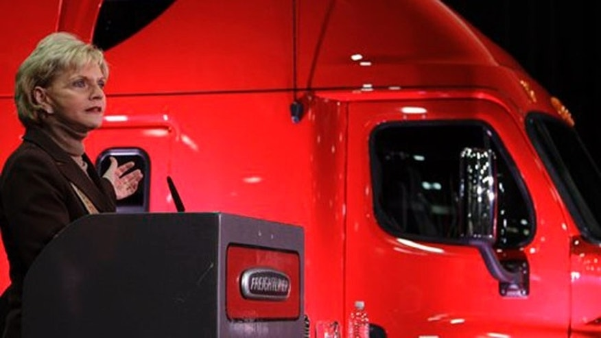 Jan. 12, 2012: North Carolina Gov. Beverly Perdue speaks during a news conference at a Freightliner plant in Cleveland, N.C.