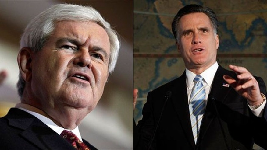Shown here are former House Speaker Newt Gingrich and former Massachusetts Gov. Mitt Romney.