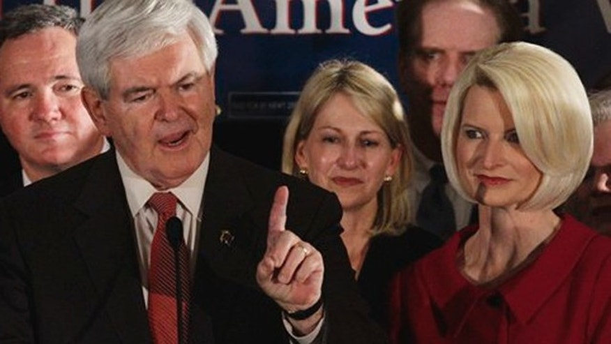 Jan. 21, 2012: Republican presidential candidate and former House Speaker Newt Gingrich speaks during a South Carolina Republican presidential primary night rally in Columbia, S.C.