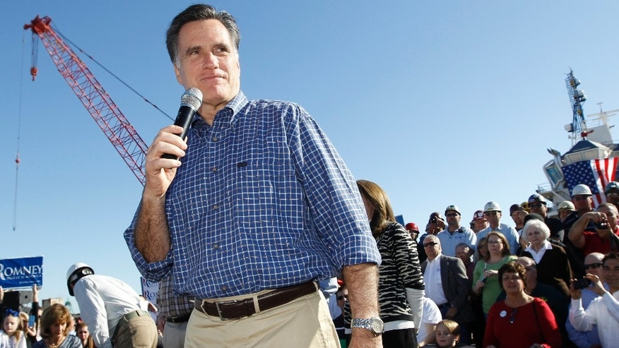 Republican presidential candidate, former Massachusetts Gov. Mitt Romney, campaigns at Eastern Ship Building in Pensacola, Fla., Saturday, Jan. 28, 2012. (AP Photo/Charles Dharapak)