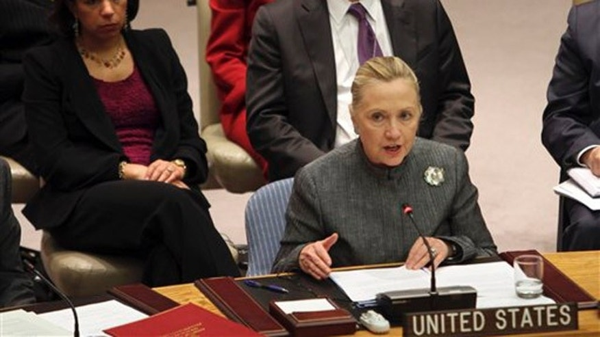 Jan. 31, 2012: Secretary of State Hillary Clinton addresses a Security Council meeting on the situation in Syria at United Nations headquarters.