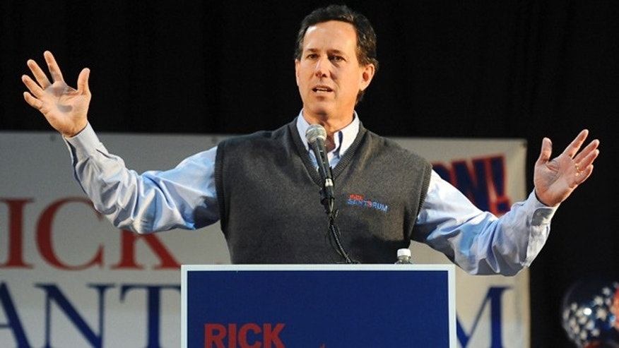 Feb. 4, 2012: Republican presidential candidate former Pennsylvania Sen. Rick Santorum speaks at the First National Bank Exhibition Hall in Loveland, Colo.